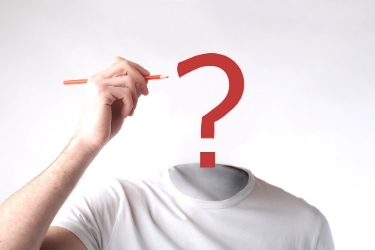 Man with a question mark symbol in his head