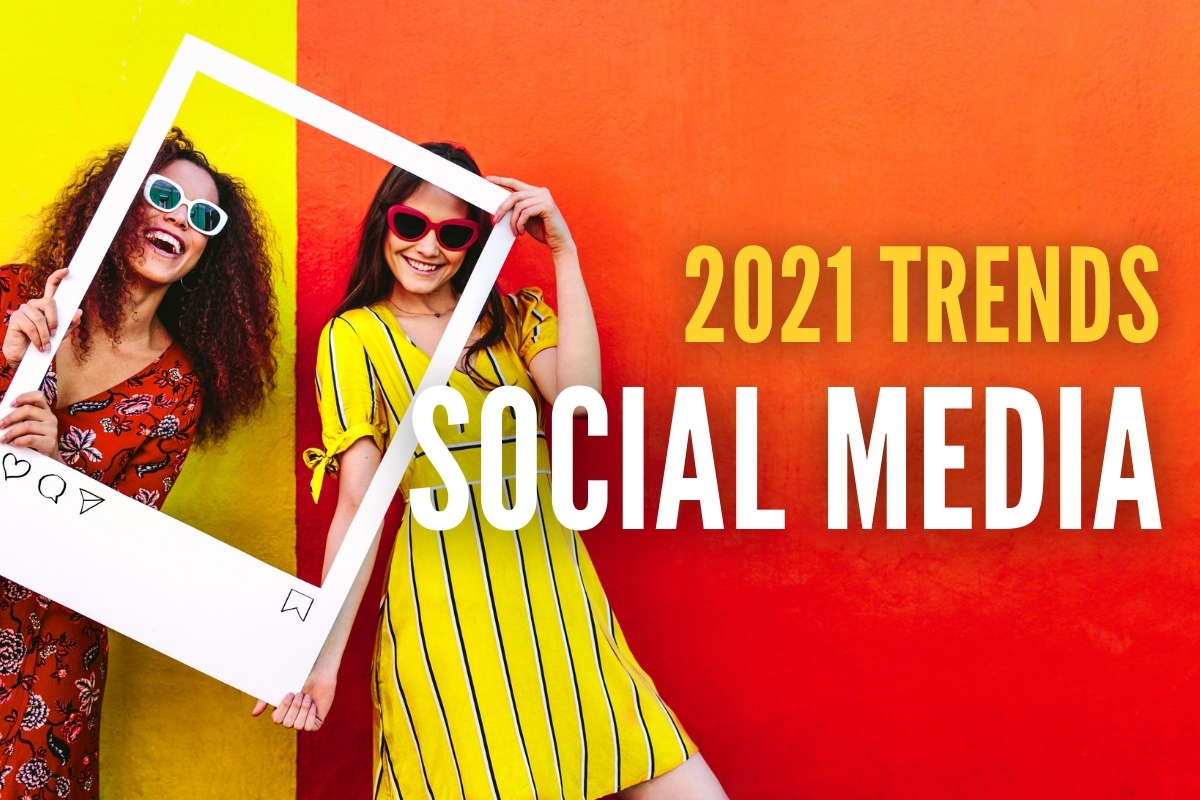Women taking photo with an Instagram frame - 2021 Trends Social Media