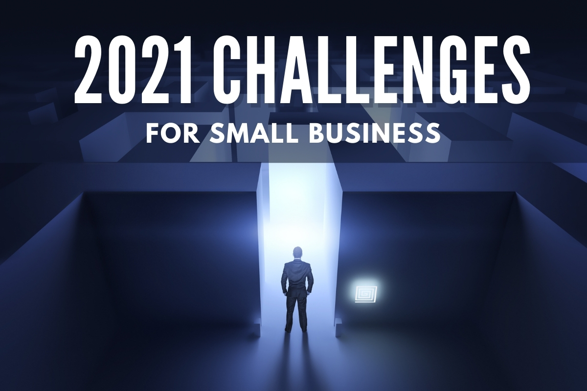 Man in front of the entrance of a labyrinth - 2021 Challenges for Small Businesses