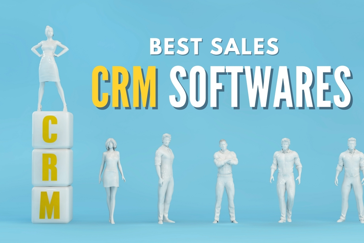 "Group of people lined up, with a woman above everyone else stepping on blogs that says ""CRM"""