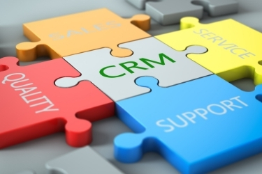 Puzzle pieces, CRM being the middle, and on the sides there is quality, support, service and sales