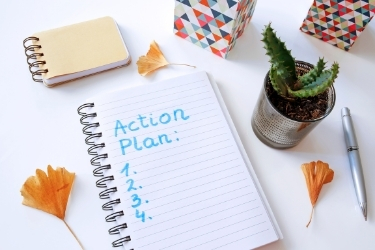 Notebook with an Action Plan