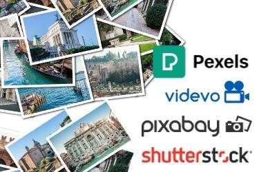 Tons of stock photos piled up - Pexels, videvo, pixabay and shutterstock logos