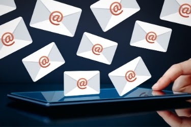 Email Marketing Campaign - Email letters coming out of a tablet