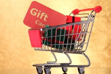 Gift Cards and gifts in a shopping cart