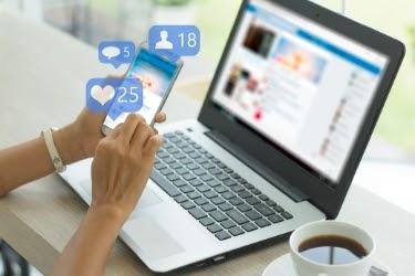 Woman doing social media posts
