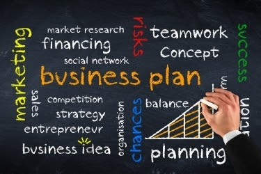 Creating a business plan - Chalkboard with words like marketing, social network, strategy, etc.