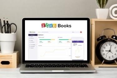 Zoho Books Dashboard in a computer