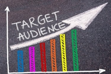 """Graphic going up with the words """"Target Audience"""""""
