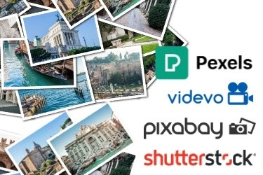 Tons of stock photos piled up - Pexels, videvo, pixabay and shutterstock logos