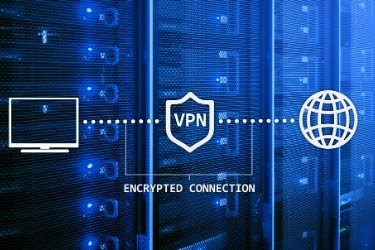 Computer icon connected to the internet through VPN