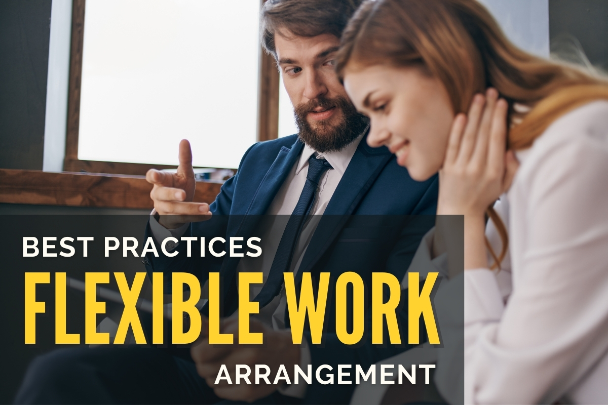 Man talking to a woman at work - Best Practices Flexible Work Arrangement