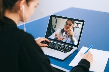 Woman getting training online