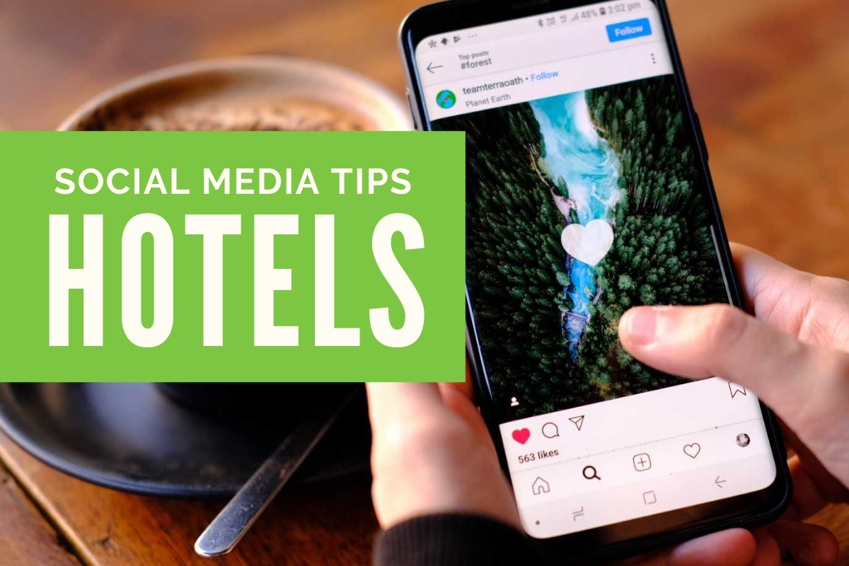 Hand holding a phone with an Instagram Post - Social Media Tips - Hotels