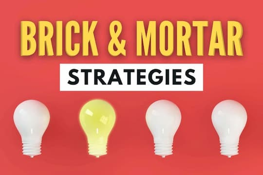 Four lightbulbs with one of them on - Brick & Mortar Strategies