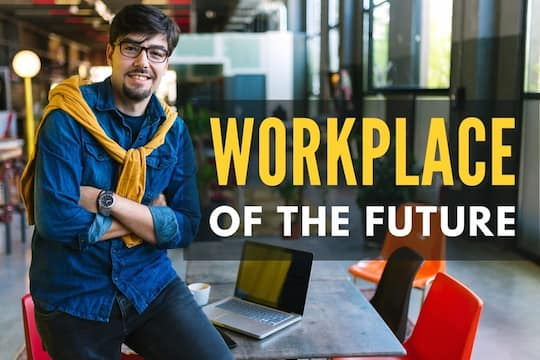 Man inside a colorful modern office - Workplace of the future