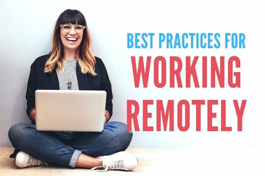 Woman sitting in the floor with her laptop - Best Practices for Working Remotely