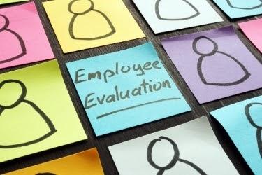 Employee evaluation sticky note