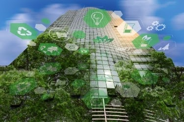 Green building with plants