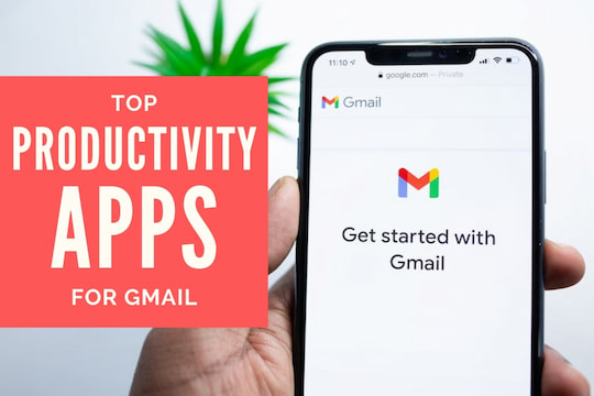 Mobile phone with Gmail Splash screen - Top Productivity App for Gmail