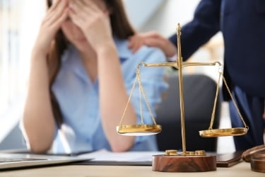 Woman stressing with legal issues