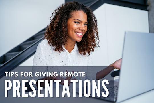 Woman giving a presentation in front of a laptop - Tips for Giving Remote Presentations