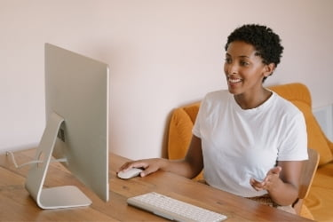 Woman giving a good presentation remotely