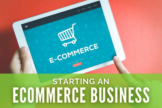 Hands holding a tablet with an eCommerce Splash-screen - Starting an eCommerce Business