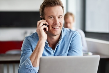 Man talking through the phone