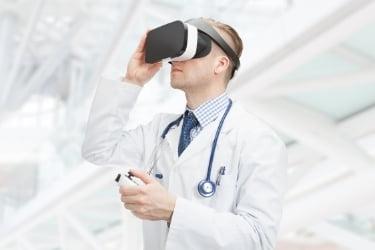 Doctor using VR equipment
