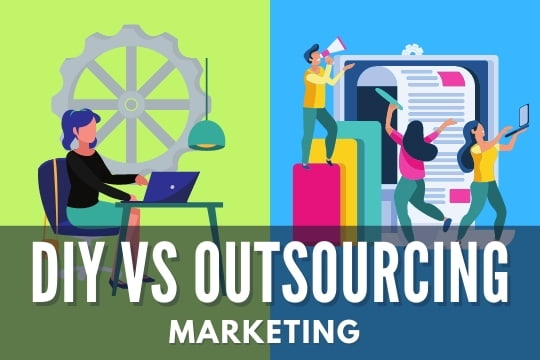 DIY vs Outsourcing Marketing - Woman working by herself vs team working in marketing