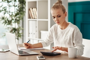 Woman planning her budget