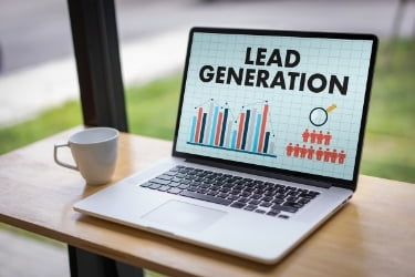 Lead Generation graphic in a laptop screen
