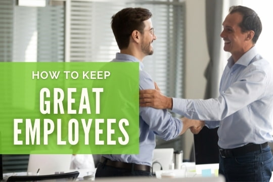 How to Keep Great Employees - Employer shaking hands with an employee