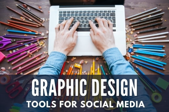 Graphic Design Tools for Social Media - Laptop surrounded with a colorful background