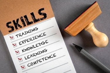 List of skills: Training, experience, knowledge, learning, competence