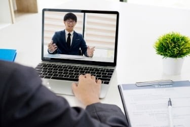 Man during a remote interview