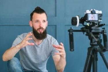 Man recording a vlog