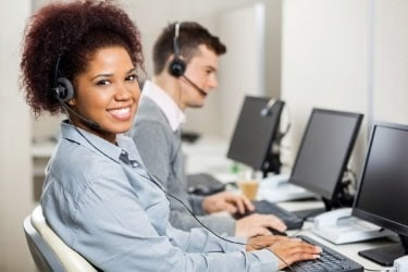 People working in customer service