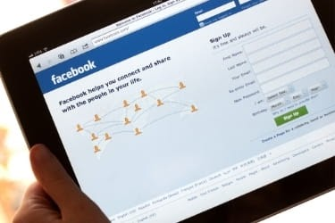 Facebook home screen in a tablet