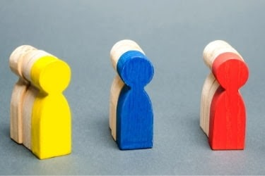 Market segmentation - wooden people divided in three groups with one of each group colored.
