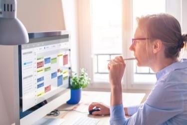 Woman planning her schedule