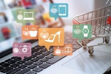 Sales Channels - Laptop with eCommerce bubbles