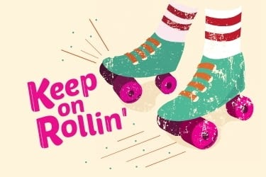 Inspirational Quote Post Example - Keep on Rollin'