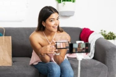 Woman doing a live video