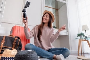 Influencer filming herself
