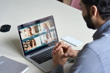Man on a virtual meeting