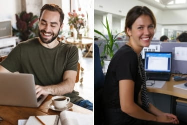 Man working from home, woman working at the office