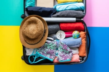 Luggage with summer clothes