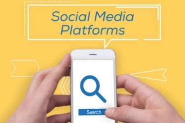 Social Media Platforms - Hands with a mobile phone